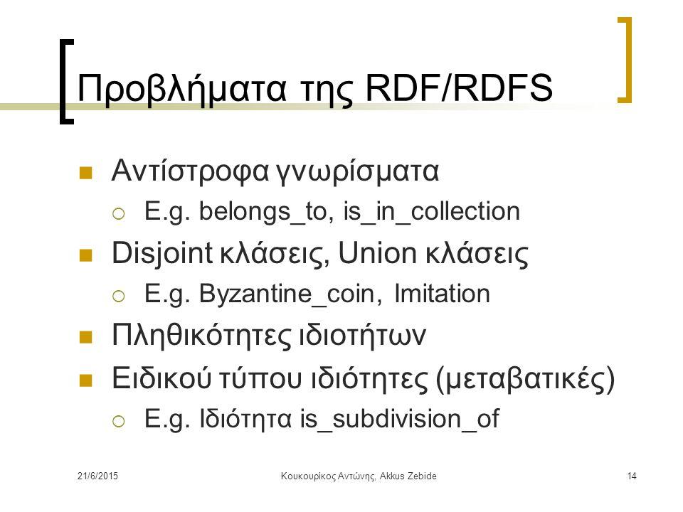 21/6/2015Κουκουρίκος Αντώνης, Akkus Zebide14 Προβλήματα της RDF/RDFS Αντίστροφα γνωρίσματα  E.g. belongs_to, is_in_collection Disjoint κλάσεις, Union