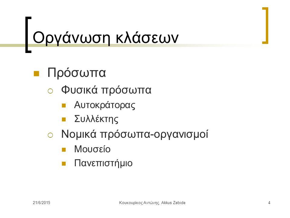 21/6/2015Κουκουρίκος Αντώνης, Akkus Zebide4 Οργάνωση κλάσεων Πρόσωπα  Φυσικά πρόσωπα Αυτοκράτορας Συλλέκτης  Νομικά πρόσωπα-οργανισμοί Μουσείο Πανεπ