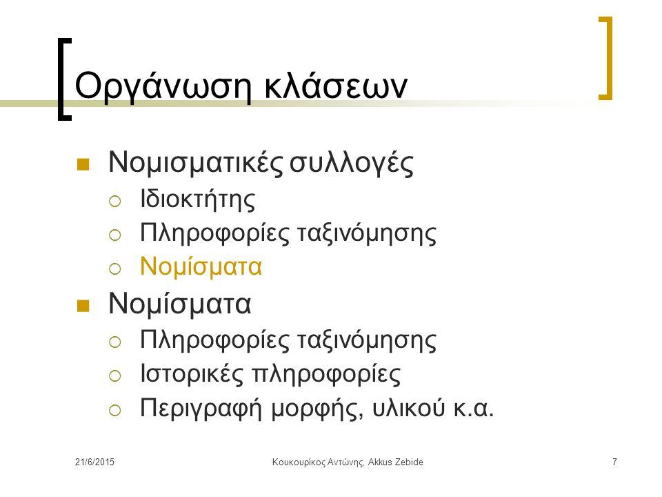 21/6/2015Κουκουρίκος Αντώνης, Akkus Zebide7 Οργάνωση κλάσεων Νομισματικές συλλογές  Ιδιοκτήτης  Πληροφορίες ταξινόμησης  Νομίσματα Νομίσματα  Πληρ
