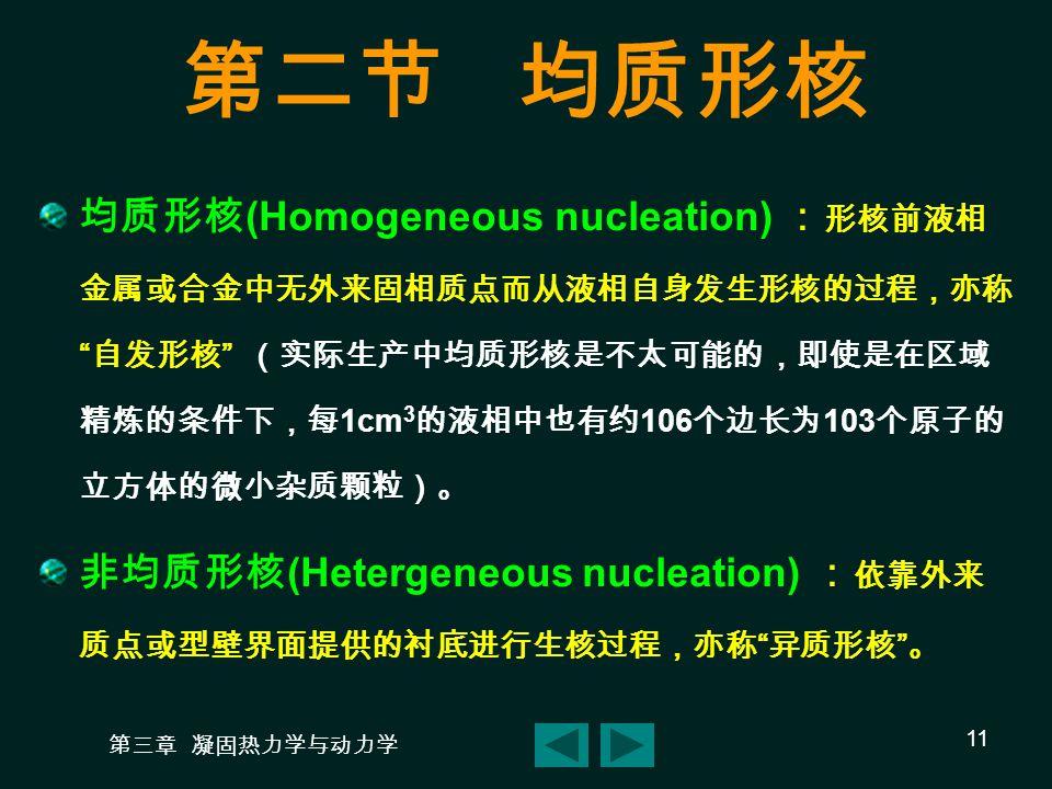 第三章 凝固热力学与动力学 11 第二节 均质形核 均质形核 (Homogeneous nucleation) : 形核前液相 金属或合金中无外来固相质点而从液相自身发生形核的过程,亦称 自发形核 (实际生产中均质形核是不太可能的,即使是在区域 精炼的条件下,每 1cm 3 的液相中也有约 106 个边长为 103 个原子的 立方体的微小杂质颗粒)。 非均质形核 (Hetergeneous nucleation) : 依靠外来 质点或型壁界面提供的衬底进行生核过程,亦称 异质形核 。