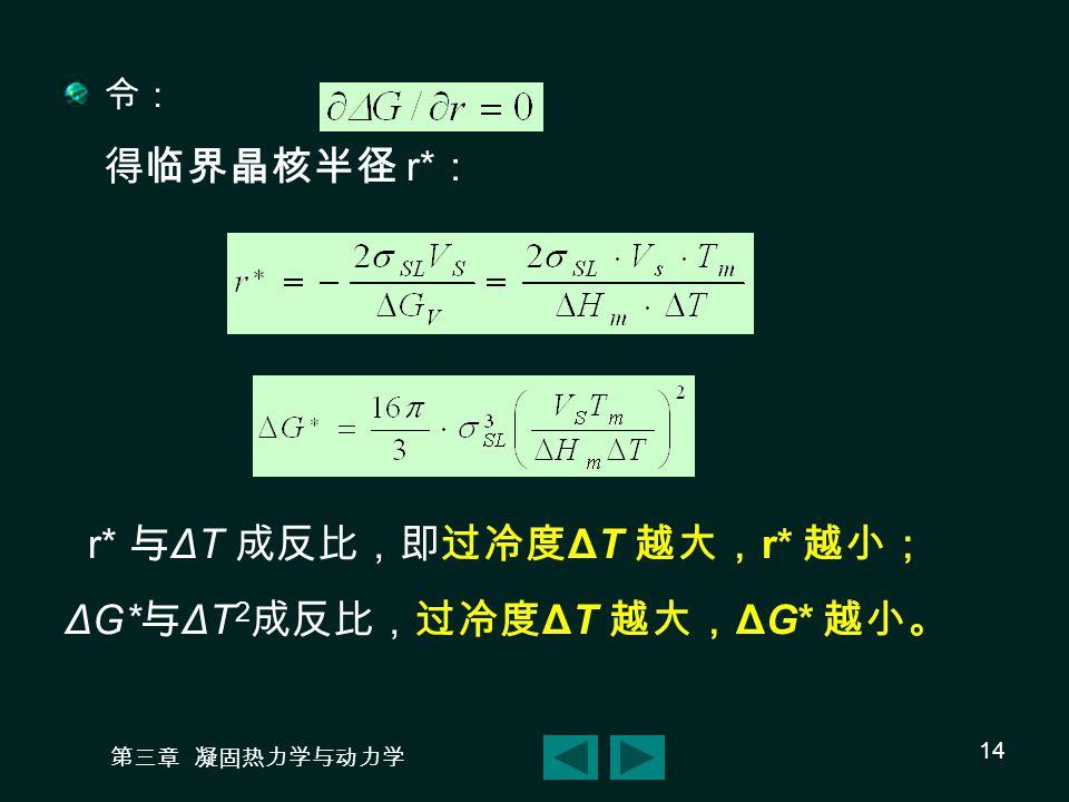 第三章 凝固热力学与动力学 14 令: 得临界晶核半径 r* : r* 与 ΔT 成反比,即过冷度 ΔT 越大, r* 越小; ΔG* 与 ΔT 2 成反比,过冷度 ΔT 越大, ΔG* 越小。
