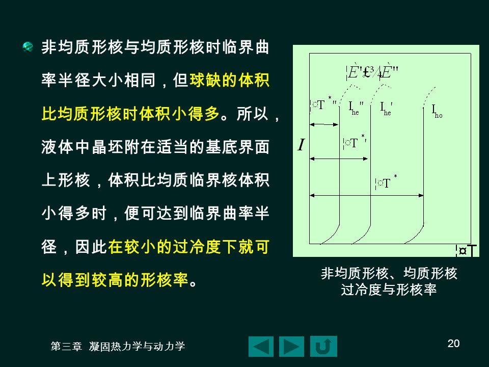 第三章 凝固热力学与动力学 20 非均质形核、均质形核 过冷度与形核率 非均质形核与均质形核时临界曲 率半径大小相同,但球缺的体积 比均质形核时体积小得多。所以, 液体中晶坯附在适当的基底界面 上形核,体积比均质临界核体积 小得多时,便可达到临界曲率半 径,因此在较小的过冷度下就可 以得到较高的形核率。