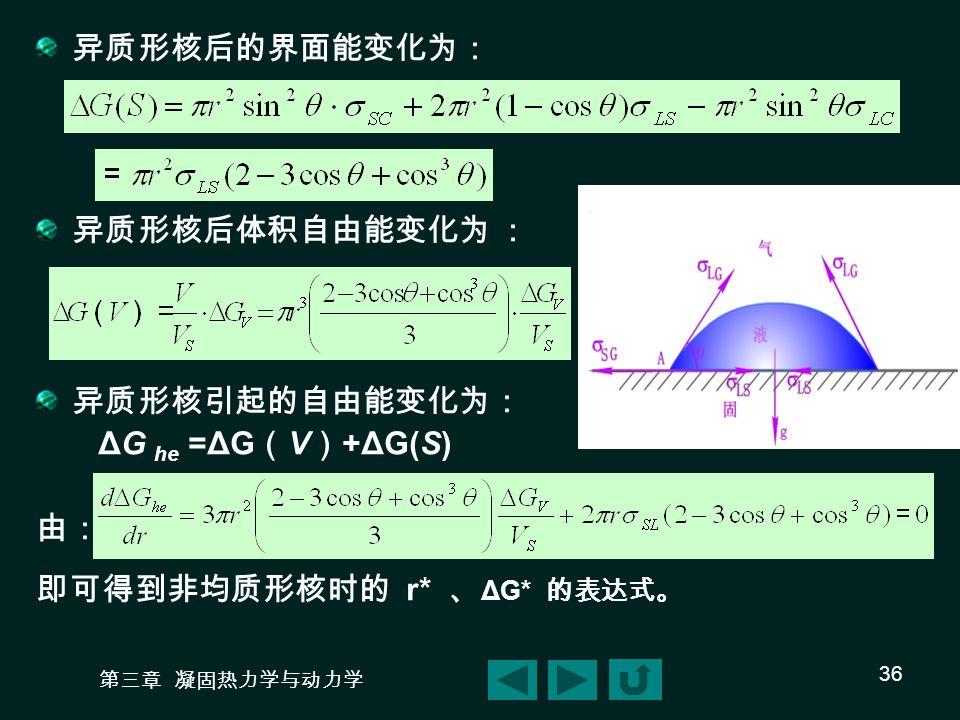 第三章 凝固热力学与动力学 36 异质形核后的界面能变化为: 异质形核后体积自由能变化为 : 异质形核引起的自由能变化为: ΔG he =ΔG ( V ) +ΔG(S) 由: 即可得到非均质形核时的 r* 、 ΔG* 的表达式。