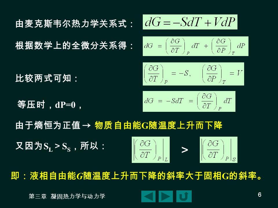 第三章 凝固热力学与动力学 6 由麦克斯韦尔热力学关系式: 根据数学上的全微分关系得: 比较两式可知: 等压时, dP=0 , 由于熵恒为正值 → 物质自由能 G 随温度上升而下降 又因为 S L > S S ,所以: > 即:液相自由能 G 随温度上升而下降的斜率大于固相 G 的斜率。