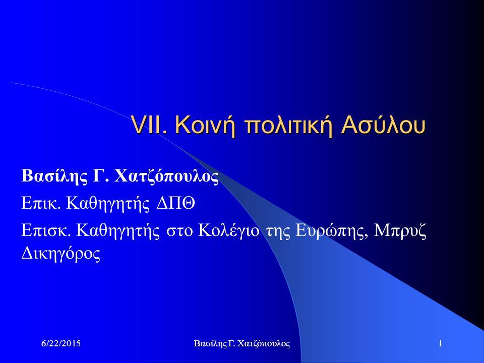 6/22/2015Βασίλης Γ.Χατζόπουλος1 VIΙ. Κοινή πολιτική Ασύλου Βασίλης Γ.