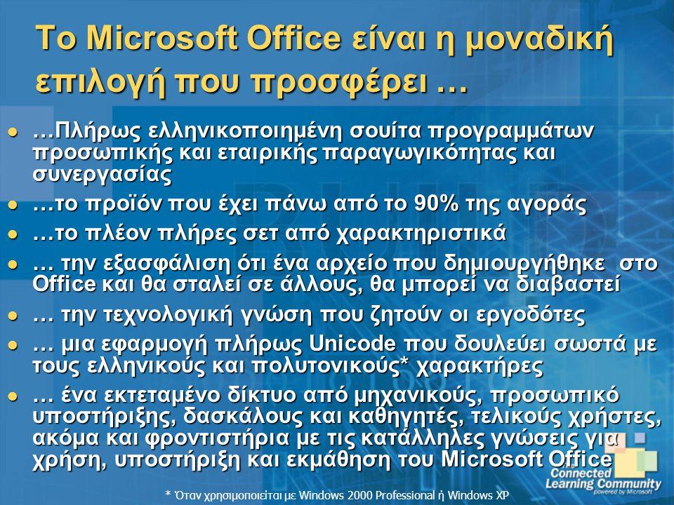 Το Microsoft Office είναι η μοναδική επιλογή που προσφέρει … …Πλήρως ελληνικοποιημένη σουίτα προγραμμάτων προσωπικής και εταιρικής παραγωγικότητας και συνεργασίας …Πλήρως ελληνικοποιημένη σουίτα προγραμμάτων προσωπικής και εταιρικής παραγωγικότητας και συνεργασίας …το προϊόν που έχει πάνω από το 90% της αγοράς …το προϊόν που έχει πάνω από το 90% της αγοράς …το πλέον πλήρες σετ από χαρακτηριστικά …το πλέον πλήρες σετ από χαρακτηριστικά … την εξασφάλιση ότι ένα αρχείο που δημιουργήθηκε στο Office και θα σταλεί σε άλλους, θα μπορεί να διαβαστεί … την εξασφάλιση ότι ένα αρχείο που δημιουργήθηκε στο Office και θα σταλεί σε άλλους, θα μπορεί να διαβαστεί … την τεχνολογική γνώση που ζητούν οι εργοδότες … την τεχνολογική γνώση που ζητούν οι εργοδότες … μια εφαρμογή πλήρως Unicode που δουλεύει σωστά με τους ελληνικούς και πολυτονικούς* χαρακτήρες … μια εφαρμογή πλήρως Unicode που δουλεύει σωστά με τους ελληνικούς και πολυτονικούς* χαρακτήρες … ένα εκτεταμένο δίκτυο από μηχανικούς, προσωπικό υποστήριξης, δασκάλους και καθηγητές, τελικούς χρήστες, ακόμα και φροντιστήρια με τις κατάλληλες γνώσεις για χρήση, υποστήριξη και εκμάθηση του Microsoft Office … ένα εκτεταμένο δίκτυο από μηχανικούς, προσωπικό υποστήριξης, δασκάλους και καθηγητές, τελικούς χρήστες, ακόμα και φροντιστήρια με τις κατάλληλες γνώσεις για χρήση, υποστήριξη και εκμάθηση του Microsoft Office * Όταν χρησιμοποιείται με Windows 2000 Professional ή Windows XP