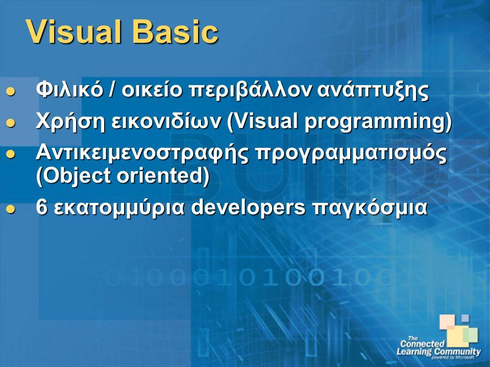 Visual Basic Φιλικό / οικείο περιβάλλον ανάπτυξης Φιλικό / οικείο περιβάλλον ανάπτυξης Χρήση εικονιδίων (Visual programming) Χρήση εικονιδίων (Visual programming) Αντικειμενοστραφής προγραμματισμός (Object oriented) Αντικειμενοστραφής προγραμματισμός (Object oriented) 6 εκατομμύρια developers παγκόσμια 6 εκατομμύρια developers παγκόσμια