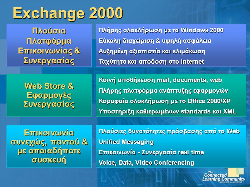 Επικοινωνία συνεχώς, παντού & με οποιαδήποτε συσκευή Πλούσιες δυνατότητες πρόσβασης από το Web Unified Messaging Επικοινωνία - Συνεργασία real time Voice, Data, Video Conferencing Exchange 2000 Web Store & Εφαρμογές Συνεργασίας Κοινή αποθήκευση mail, documents, web Πλήρης πλατφόρμα ανάπτυξης εφαρμογών Κορυφαία ολοκλήρωση με το Office 2000/XP Υποστήριξη καθιερωμένων standards και XML Πλούσια Πλατφόρμα Επικοινωνίας & Συνεργασίας Πλήρης ολοκλήρωση με τα Windows 2000 Εύκολη διαχείριση & υψηλή ασφάλεια Αυξημένη αξιοπιστία και κλιμάκωση Ταχύτητα και απόδοση στο Internet