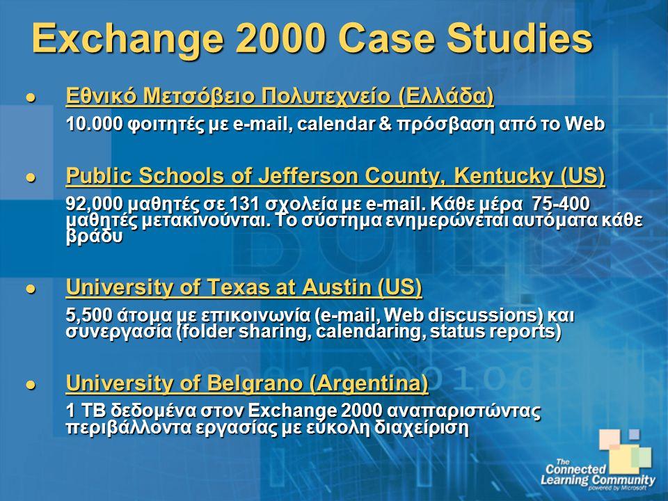 Exchange 2000 Case Studies Εθνικό Μετσόβειο Πολυτεχνείο (Ελλάδα) Εθνικό Μετσόβειο Πολυτεχνείο (Ελλάδα) 10.000 φοιτητές με e-mail, calendar & πρόσβαση από το Web Public Schools of Jefferson County, Kentucky (US) Public Schools of Jefferson County, Kentucky (US) 92,000 μαθητές σε 131 σχολεία με e-mail.