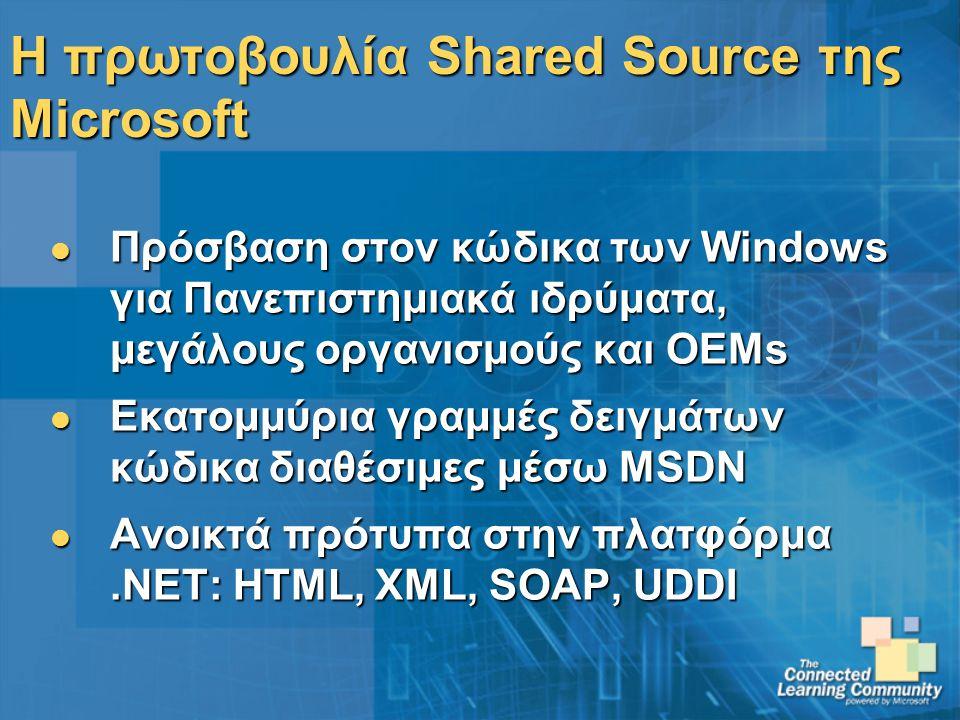 Η πρωτοβουλία Shared Source της Microsoft Πρόσβαση στον κώδικα των Windows για Πανεπιστημιακά ιδρύματα, μεγάλους οργανισμούς και OEMs Πρόσβαση στον κώδικα των Windows για Πανεπιστημιακά ιδρύματα, μεγάλους οργανισμούς και OEMs Εκατομμύρια γραμμές δειγμάτων κώδικα διαθέσιμες μέσω MSDN Εκατομμύρια γραμμές δειγμάτων κώδικα διαθέσιμες μέσω MSDN Ανοικτά πρότυπα στην πλατφόρμα.NET: HTML, XML, SOAP, UDDI Ανοικτά πρότυπα στην πλατφόρμα.NET: HTML, XML, SOAP, UDDI