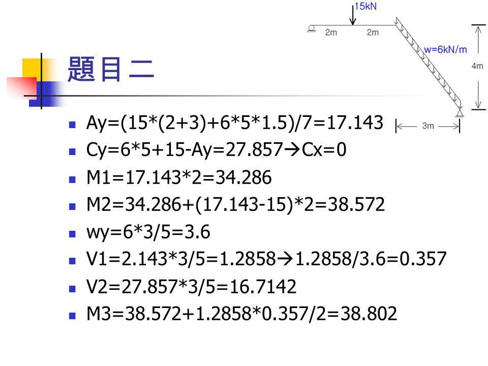 Ay=(15*(2+3)+6*5*1.5)/7=17.143 Cy=6*5+15-Ay=27.857  Cx=0 M1=17.143*2=34.286 M2=34.286+(17.143-15)*2=38.572 wy=6*3/5=3.6 V1=2.143*3/5=1.2858  1.2858/3.6=0.357 V2=27.857*3/5=16.7142 M3=38.572+1.2858*0.357/2=38.802