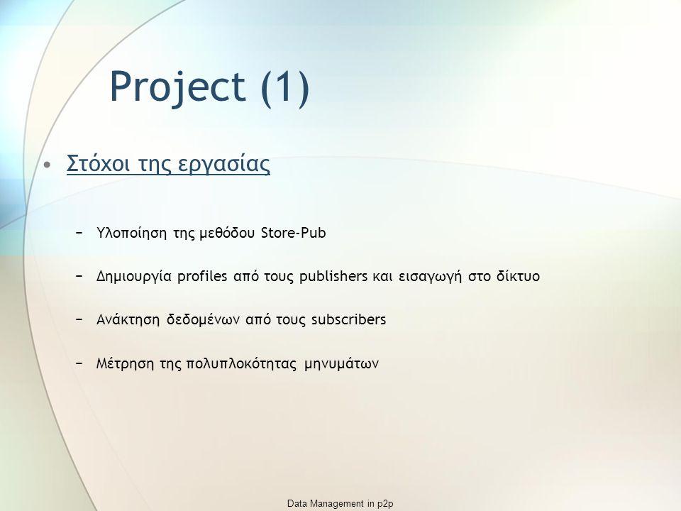 Data Management in p2p Project (1) Στόχοι της εργασίας −Υλοποίηση της μεθόδου Store-Pub −Δημιουργία profiles από τους publishers και εισαγωγή στο δίκτυο −Ανάκτηση δεδομένων από τους subscribers −Μέτρηση της πολυπλοκότητας μηνυμάτων
