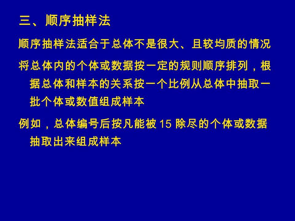 三、顺序抽样法 顺序抽样法适合于总体不是很大、且较均质的情况 将总体内的个体或数据按一定的规则顺序排列,根 据总体和样本的关系按一个比例从总体中抽取一 批个体或数值组成样本 例如,总体编号后按凡能被 15 除尽的个体或数据 抽取出来组成样本