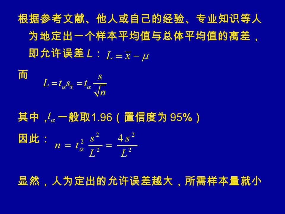 根据参考文献、他人或自己的经验、专业知识等人 为地定出一个样本平均值与总体平均值的离差, 即允许误差 L : 而 其中, 一般取 1.96 (置信度为 95% ) 因此: 显然,人为定出的允许误差越大,所需样本量就小