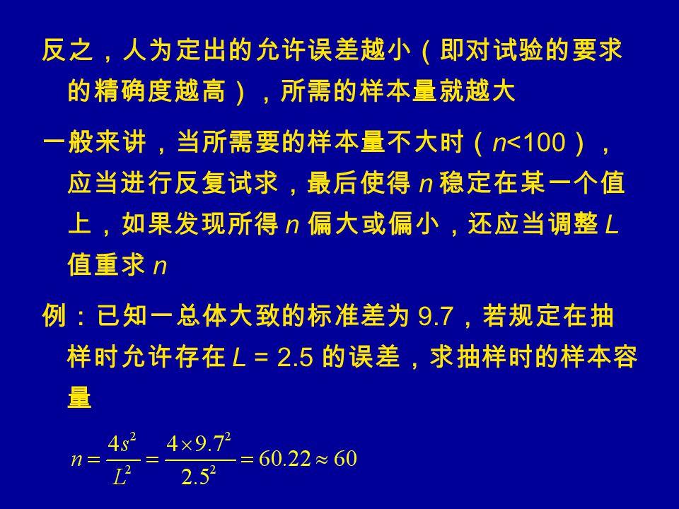 反之,人为定出的允许误差越小(即对试验的要求 的精确度越高),所需的样本量就越大 一般来讲,当所需要的样本量不大时( n<100 ), 应当进行反复试求,最后使得 n 稳定在某一个值 上,如果发现所得 n 偏大或偏小,还应当调整 L 值重求 n 例:已知一总体大致的标准差为 9.7 ,若规定在抽 样时允许存在 L = 2.5 的误差,求抽样时的样本容 量