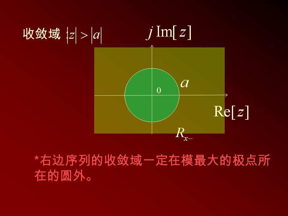 * 右边序列的收敛域一定在模最大的极点所 在的圆外。 收敛域: