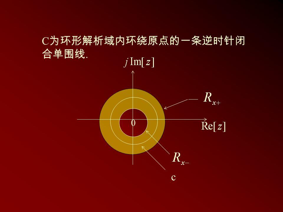 C 为环形解析域内环绕原点的一条逆时针闭 合单围线. 0 c