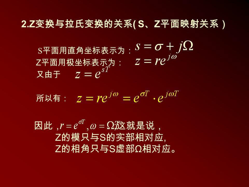 2.Z 变换与拉氏变换的关系 ( S 、 Z 平面映射关系) S 平面用直角坐标表示为: Z 平面用极坐标表示为: 又由于 所以有: 因此, ; 这就是说, Z 的模只与 S 的实部相对应, Z 的相角只与 S 虚部 Ω 相对应。