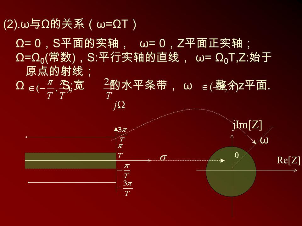 Ω= 0 , S 平面的实轴, ω= 0 , Z 平面正实轴; Ω=Ω 0 ( 常数 ) , S: 平行实轴的直线, ω= Ω 0 T,Z: 始于 原点的射线; Ω S: 宽 的水平条带, ω 整个 z 平面. 0 jIm[Z] Re[Z] (2).ω 与 Ω 的关系( ω=ΩT ) ω
