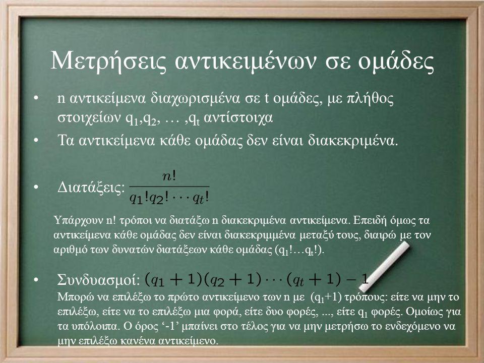 Μετρήσεις αντικειμένων σε ομάδες n αντικείμενα διαχωρισμένα σε t ομάδες, με πλήθος στοιχείων q 1,q 2, …,q t αντίστοιχα Τα αντικείμενα κάθε ομάδας δεν είναι διακεκριμένα.