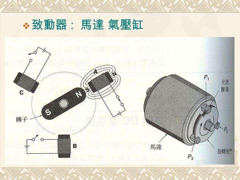  致動器 : 馬達 氣壓缸