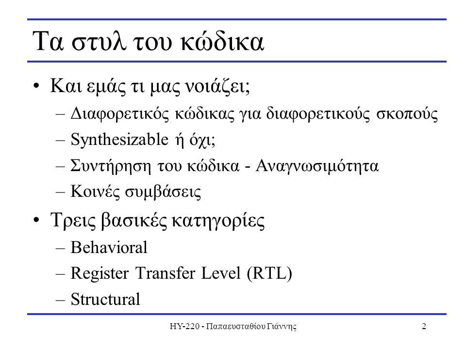 HY-220 - Παπαευσταθίου Γιάννης2 Τα στυλ του κώδικα Και εμάς τι μας νοιάζει; –Διαφορετικός κώδικας για διαφορετικούς σκοπούς –Synthesizable ή όχι; –Συντήρηση του κώδικα - Αναγνωσιμότητα –Κοινές συμβάσεις Τρεις βασικές κατηγορίες –Behavioral –Register Transfer Level (RTL) –Structural