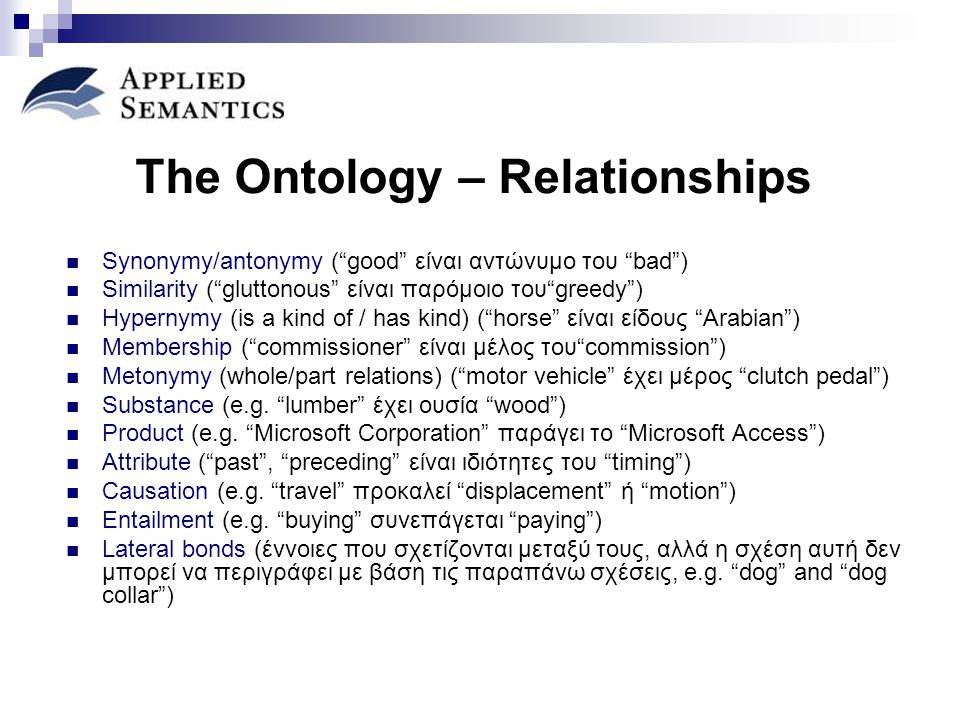 "The Ontology – Relationships Synonymy/antonymy (""good"" είναι αντώνυμο του ""bad"") Similarity (""gluttonous"" είναι παρόμοιο του""greedy"") Hypernymy (is a"