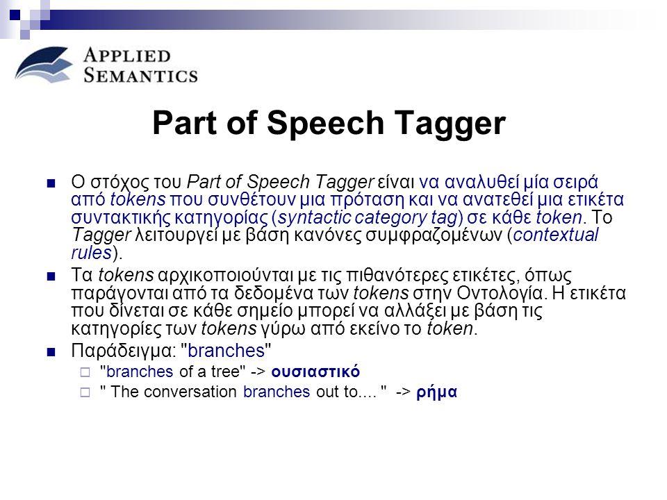 Part of Speech Tagger Ο στόχος του Part of Speech Tagger είναι να αναλυθεί μία σειρά από tokens που συνθέτουν μια πρόταση και να ανατεθεί μια ετικέτα συντακτικής κατηγορίας (syntactic category tag) σε κάθε token.