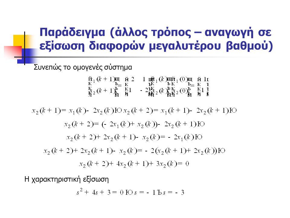 Παράδειγμα (άλλος τρόπος – αναγωγή σε εξίσωση διαφορών μεγαλυτέρου βαθμού) Συνεπώς το ομογενές σύστημα Η χαρακτηριστική εξίσωση