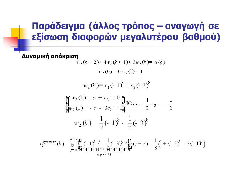 Παράδειγμα (άλλος τρόπος – αναγωγή σε εξίσωση διαφορών μεγαλυτέρου βαθμού) Δυναμική απόκριση
