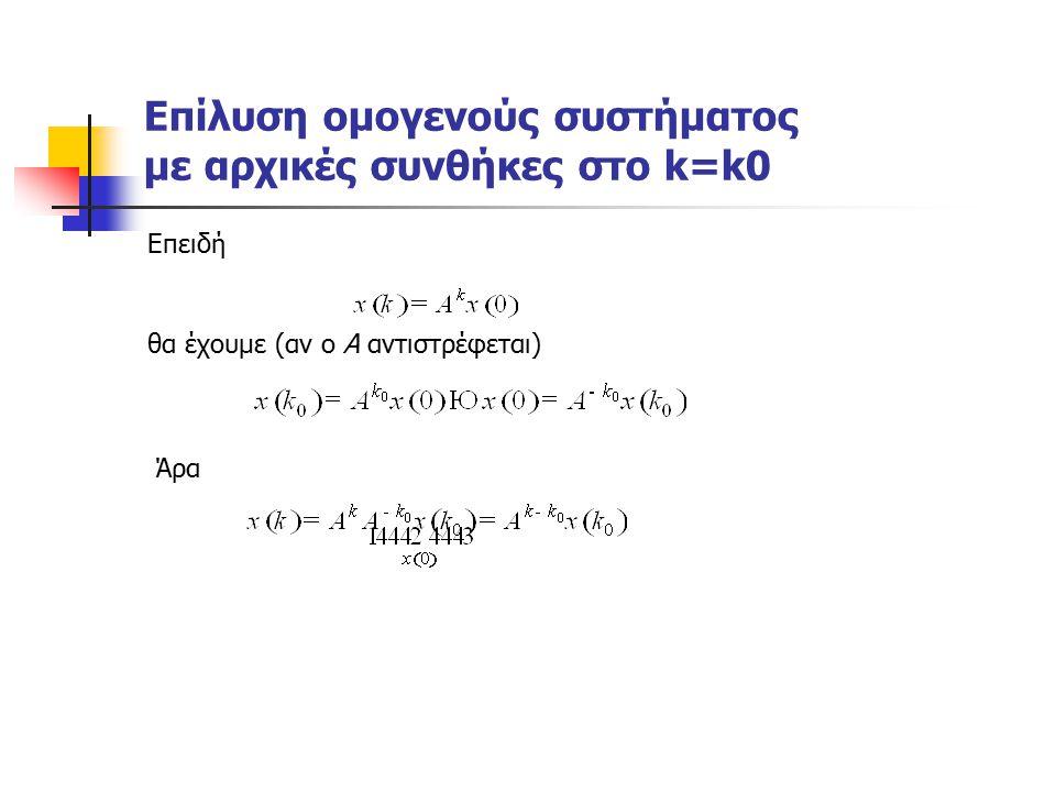 Επίλυση ομογενούς συστήματος με αρχικές συνθήκες στο k=k0 Επειδή θα έχουμε (αν ο Α αντιστρέφεται) Άρα