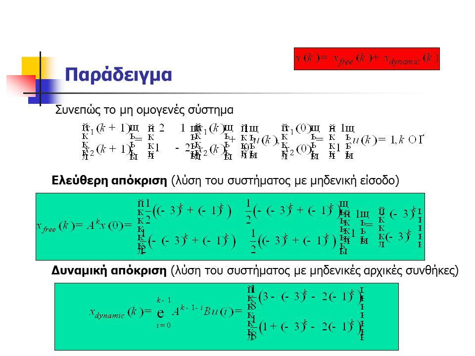 Παράδειγμα Συνεπώς το μη ομογενές σύστημα Ελεύθερη απόκριση (λύση του συστήματος με μηδενική είσοδο) Δυναμική απόκριση (λύση του συστήματος με μηδενικές αρχικές συνθήκες)