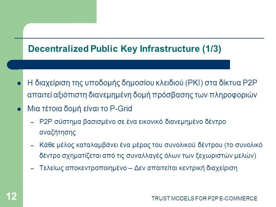 TRUST MODELS FOR P2P E-COMMERCE 12 Decentralized Public Key Infrastructure (1/3) Η διαχείριση της υποδομής δημοσίου κλειδιού (PKI) στα δίκτυα P2P απαιτεί αξιόπιστη διανεμημένη δομή πρόσβασης των πληροφοριών Μια τέτοια δομή είναι το P-Grid – P2P σύστημα βασισμένο σε ένα εικονικό διανεμημένο δέντρο αναζήτησης – Κάθε μέλος καταλαμβάνει ένα μέρος του συνολικού δέντρου (το συνολικό δέντρο σχηματίζεται από τις συναλλαγές όλων των ξεχωριστών μελών) – Τελείως αποκεντροποιημένο – Δεν απαιτείται κεντρική διαχείριση