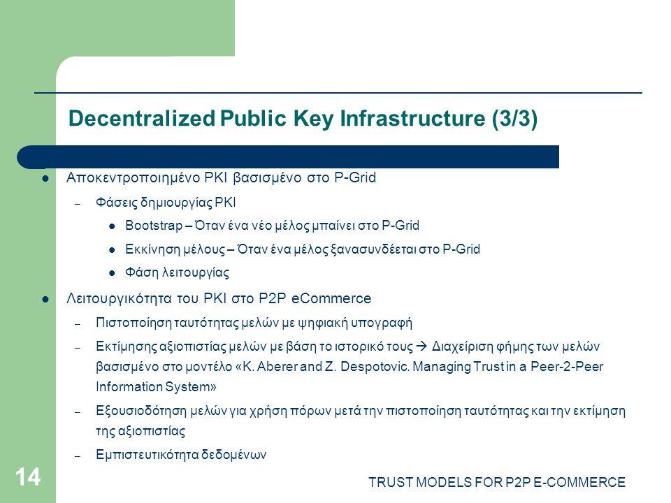 TRUST MODELS FOR P2P E-COMMERCE 14 Decentralized Public Key Infrastructure (3/3) Αποκεντροποιημένο PKI βασισμένο στο P-Grid – Φάσεις δημιουργίας PKI Bootstrap – Όταν ένα νέο μέλος μπαίνει στο P-Grid Εκκίνηση μέλους – Όταν ένα μέλος ξανασυνδέεται στο P-Grid Φάση λειτουργίας Λειτουργικότητα του PKI στο P2P eCommerce – Πιστοποίηση ταυτότητας μελών με ψηφιακή υπογραφή – Εκτίμησης αξιοπιστίας μελών με βάση το ιστορικό τους  Διαχείριση φήμης των μελών βασισμένο στο μοντέλο «K.