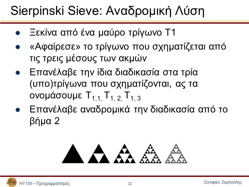 ΗΥ150 – Προγραμματισμός Ξενοφών Ζαμπούλης 22 Sierpinski Sieve: Αναδρομική Λύση Ξεκίνα από ένα μαύρο τρίγωνο Τ1 «Αφαίρεσε» το τρίγωνο που σχηματίζεται από τις τρεις μέσους των ακμών Επανέλαβε την ίδια διαδικασία στα τρία (υπο)τρίγωνα που σχηματίζονται, ας τα ονομάσουμε Τ 1,1, Τ 1, 2, Τ 1, 3 Επανέλαβε αναδρομικά την διαδικασία από το βήμα 2