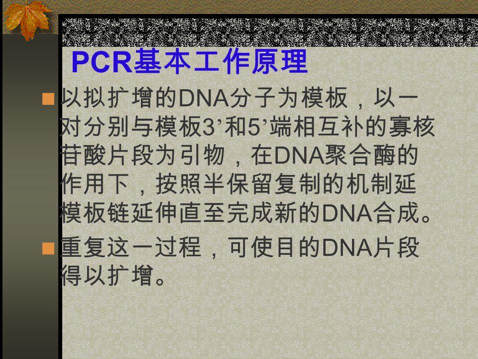 PCR 基本工作原理 以拟扩增的 DNA 分子为模板,以一 对分别与模板 3 ' 和 5 ' 端相互补的寡核 苷酸片段为引物,在 DNA 聚合酶的 作用下,按照半保留复制的机制延 模板链延伸直至完成新的 DNA 合成。 重复这一过程,可使目的 DNA 片段 得以扩增。