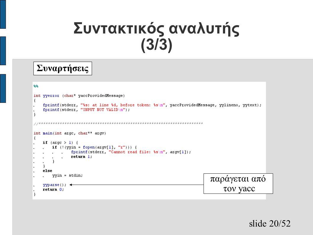 slide 20/52 Συντακτικός αναλυτής (3/3) Συναρτήσεις παράγεται από τον yacc