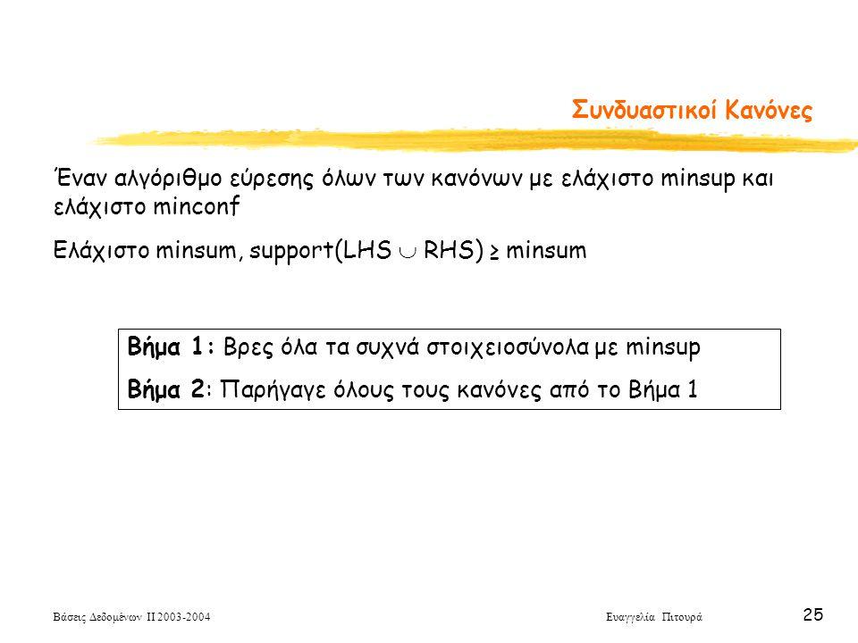 Βάσεις Δεδομένων ΙΙ 2003-2004 Ευαγγελία Πιτουρά 25 Συνδυαστικοί Κανόνες Έναν αλγόριθμο εύρεσης όλων των κανόνων με ελάχιστο minsup και ελάχιστο minconf Ελάχιστο minsum, support(LHS  RHS) ≥ minsum Βήμα 1: Βρες όλα τα συχνά στοιχειοσύνολα με minsup Βήμα 2: Παρήγαγε όλους τους κανόνες από το Βήμα 1