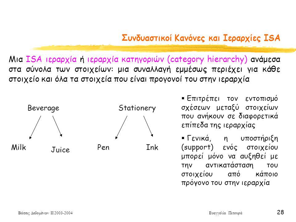 Βάσεις Δεδομένων ΙΙ 2003-2004 Ευαγγελία Πιτουρά 28 Συνδυαστικοί Κανόνες και Ιεραρχίες ISA Μια ISA ιεραρχία ή ιεραρχία κατηγοριών (category hierarchy) ανάμεσα στα σύνολα των στοιχείων: μια συναλλαγή εμμέσως περιέχει για κάθε στοιχείο και όλα τα στοιχεία που είναι προγονοί του στην ιεραρχία Beverage Milk Juice Stationery PenInk  Επιτρέπει τον εντοπισμό σχέσεων μεταξύ στοιχείων που ανήκουν σε διαφορετικά επίπεδα της ιεραρχίας  Γενικά, η υποστήριξη (support) ενός στοιχείου μπορεί μόνο να αυξηθεί με την αντικατάσταση του στοιχείου από κάποιο πρόγονο του στην ιεραρχία