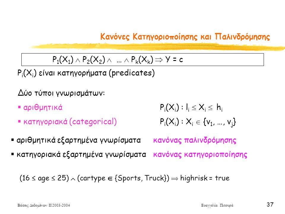 Βάσεις Δεδομένων ΙΙ 2003-2004 Ευαγγελία Πιτουρά 37 Κανόνες Κατηγοριοποίησης και Παλινδρόμησης P 1 (X 1 )  P 2 (X 2 )  …  P k (X k )  Y = c P i (X i ) είναι κατηγορήματα (predicates) Δύο τύποι γνωρισμάτων:  αριθμητικά P i (X i ) : l i  X i  h i  κατηγοριακά (categorical)P i (X i ) : X i  {v 1, …, v j }  αριθμητικά εξαρτημένα γνωρίσματα κανόνας παλινδρόμησης  κατηγοριακά εξαρτημένα γνωρίσματα κανόνας κατηγοριοποίησης (16  age  25)  (cartype  {Sports, Truck})  highrisk = true