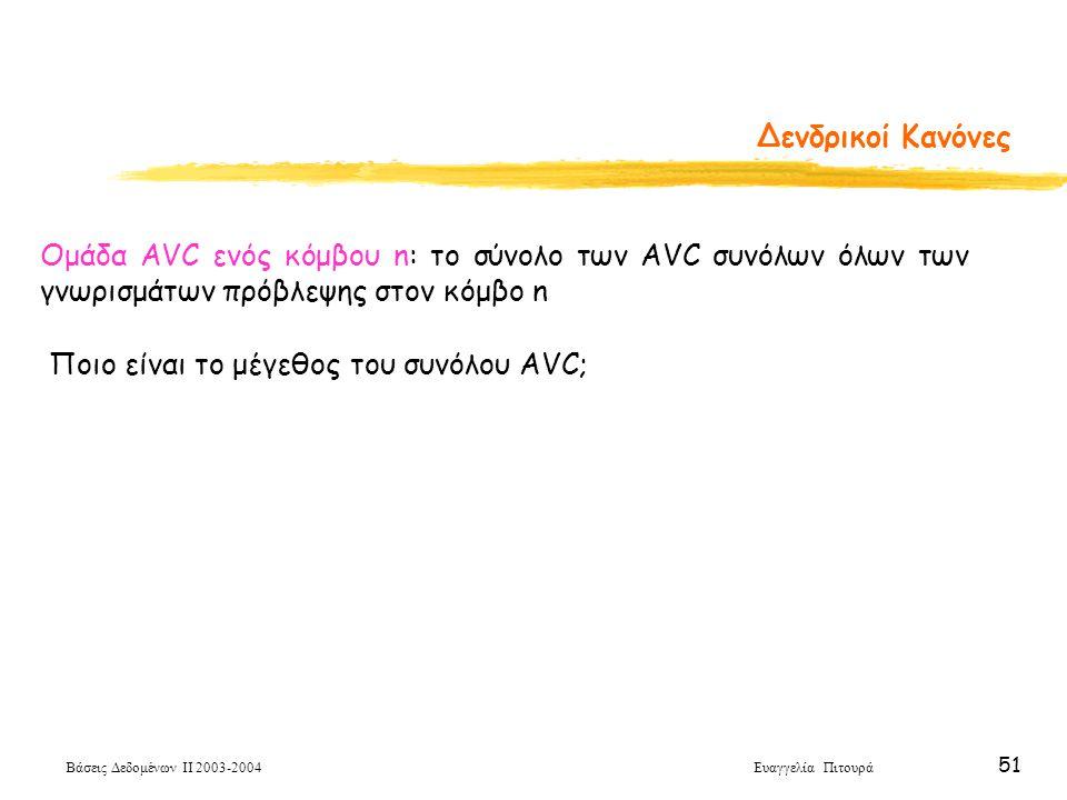 Βάσεις Δεδομένων ΙΙ 2003-2004 Ευαγγελία Πιτουρά 51 Δενδρικοί Κανόνες Ποιο είναι το μέγεθος του συνόλου AVC; Ομάδα AVC ενός κόμβου n: το σύνολο των AVC συνόλων όλων των γνωρισμάτων πρόβλεψης στον κόμβο n