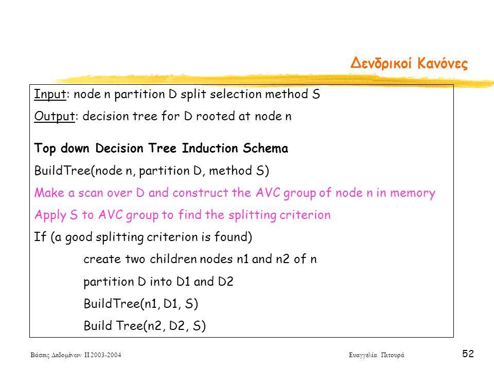 Βάσεις Δεδομένων ΙΙ 2003-2004 Ευαγγελία Πιτουρά 52 Δενδρικοί Κανόνες Input: node n partition D split selection method S Output: decision tree for D rooted at node n Top down Decision Tree Induction Schema BuildTree(node n, partition D, method S) Make a scan over D and construct the AVC group of node n in memory Apply S to AVC group to find the splitting criterion If (a good splitting criterion is found) create two children nodes n1 and n2 of n partition D into D1 and D2 BuildTree(n1, D1, S) Build Tree(n2, D2, S)