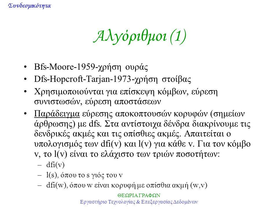 Συνδεσμικότητα ΘΕΩΡΙΑ ΓΡΑΦΩΝ Εργαστήριο Τεχνολογίας & Επεξεργασίας Δεδομένων Αλγόριθμοι (1) Bfs-Moore-1959-χρήση ουράς Dfs-Hopcroft-Tarjan-1973-χρήση στοίβας Χρησιμοποιούνται για επίσκεψη κόμβων, εύρεση συνιστωσών, εύρεση αποστάσεων Παράδειγμα εύρεσης αποκοπτουσών κορυφών (σημείων άρθρωσης) με dfs.