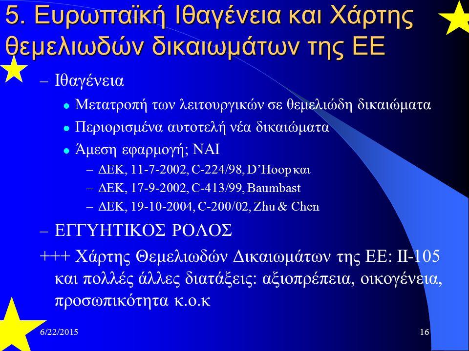 6/22/201516 5. Ευρωπαϊκή Ιθαγένεια και Χάρτης θεμελιωδών δικαιωμάτων της ΕΕ – Ιθαγένεια Μετατροπή των λειτουργικών σε θεμελιώδη δικαιώματα Περιορισμέν
