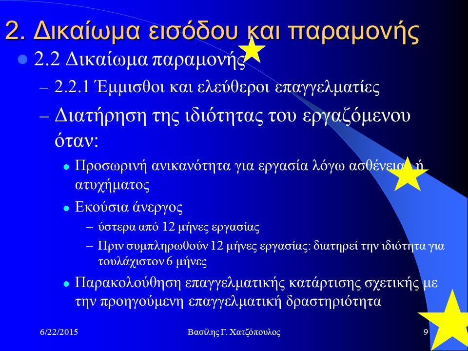6/22/2015Βασίλης Γ. Χατζόπουλος9 2. Δικαίωμα εισόδου και παραμονής 2.2 Δικαίωμα παραμονής – 2.2.1 Έμμισθοι και ελεύθεροι επαγγελματίες – Διατήρηση της
