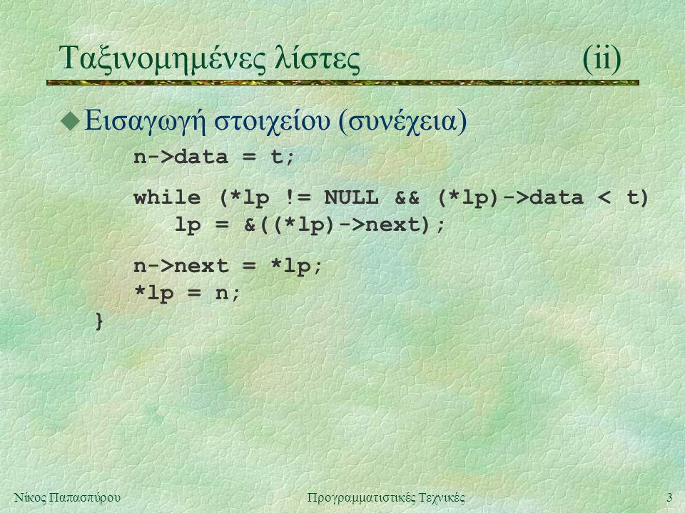 3Νίκος ΠαπασπύρουΠρογραμματιστικές Τεχνικές Ταξινομημένες λίστες(ii) u Εισαγωγή στοιχείου (συνέχεια) n->data = t; while (*lp != NULL && (*lp)->data < t) lp = &((*lp)->next); n->next = *lp; *lp = n; }