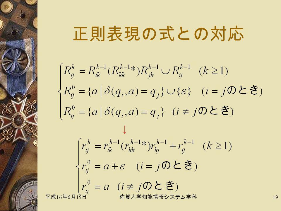 平成 16 年 6 月 15 日佐賀大学知能情報システム学科 19 正則表現の式との対応 ↓