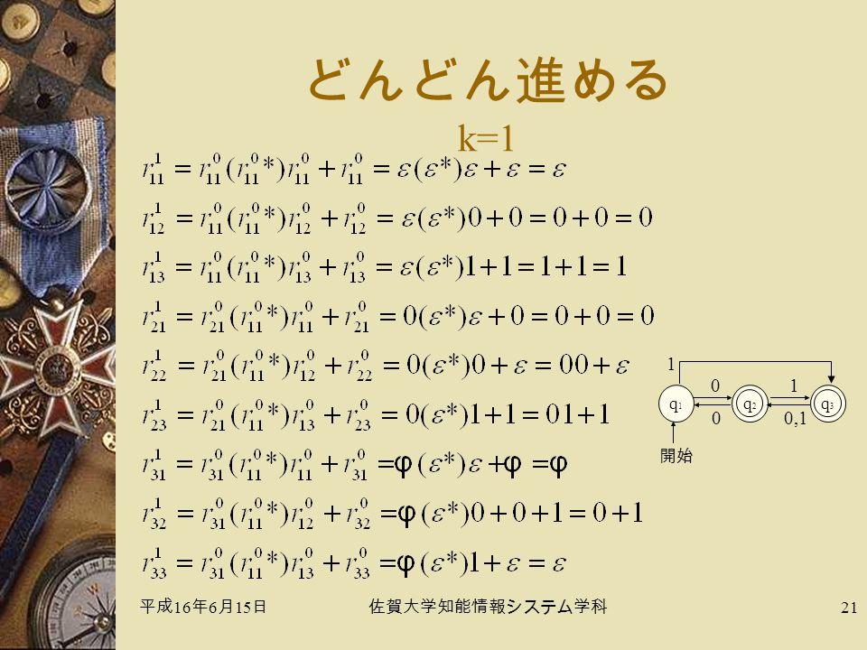 平成 16 年 6 月 15 日佐賀大学知能情報システム学科 21 どんどん進める k=1 q1q1 q2q2 0 開始 q3q3 1 1 0,10