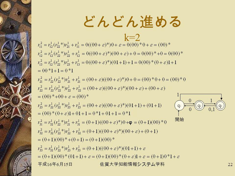平成 16 年 6 月 15 日佐賀大学知能情報システム学科 22 どんどん進める k=2 q1q1 q2q2 0 開始 q3q3 1 1 0,10