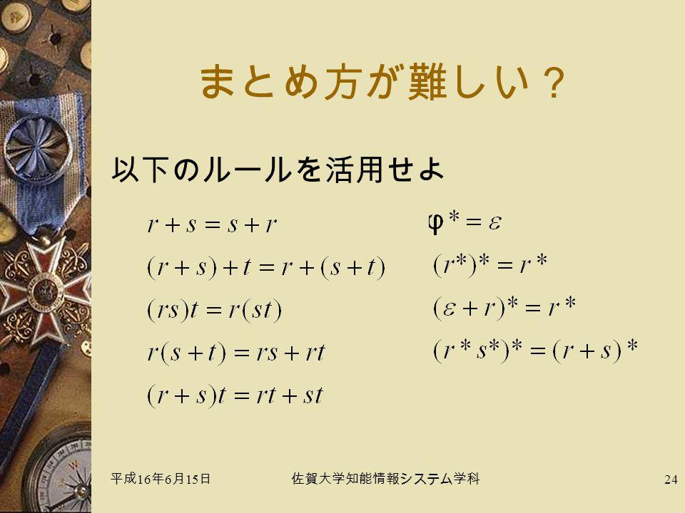 平成 16 年 6 月 15 日佐賀大学知能情報システム学科 24 まとめ方が難しい? 以下のルールを活用せよ